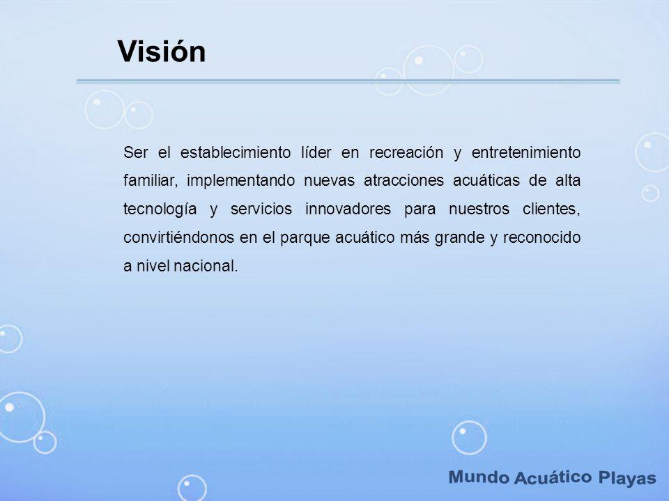 Ser el establecimiento líder en recreación y entretenimiento familiar, implementando nuevas atracciones acuáticas de alta tecnología y servicios innov