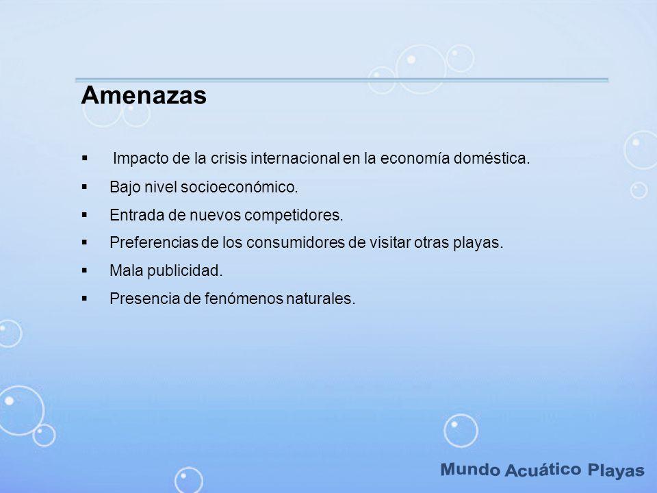 Amenazas Impacto de la crisis internacional en la economía doméstica. Bajo nivel socioeconómico. Entrada de nuevos competidores. Preferencias de los c