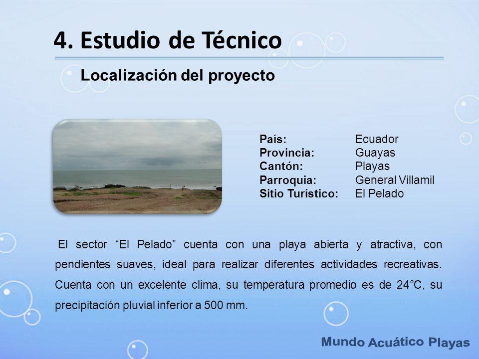4. Estudio de Técnico Localización del proyecto El sector El Pelado cuenta con una playa abierta y atractiva, con pendientes suaves, ideal para realiz