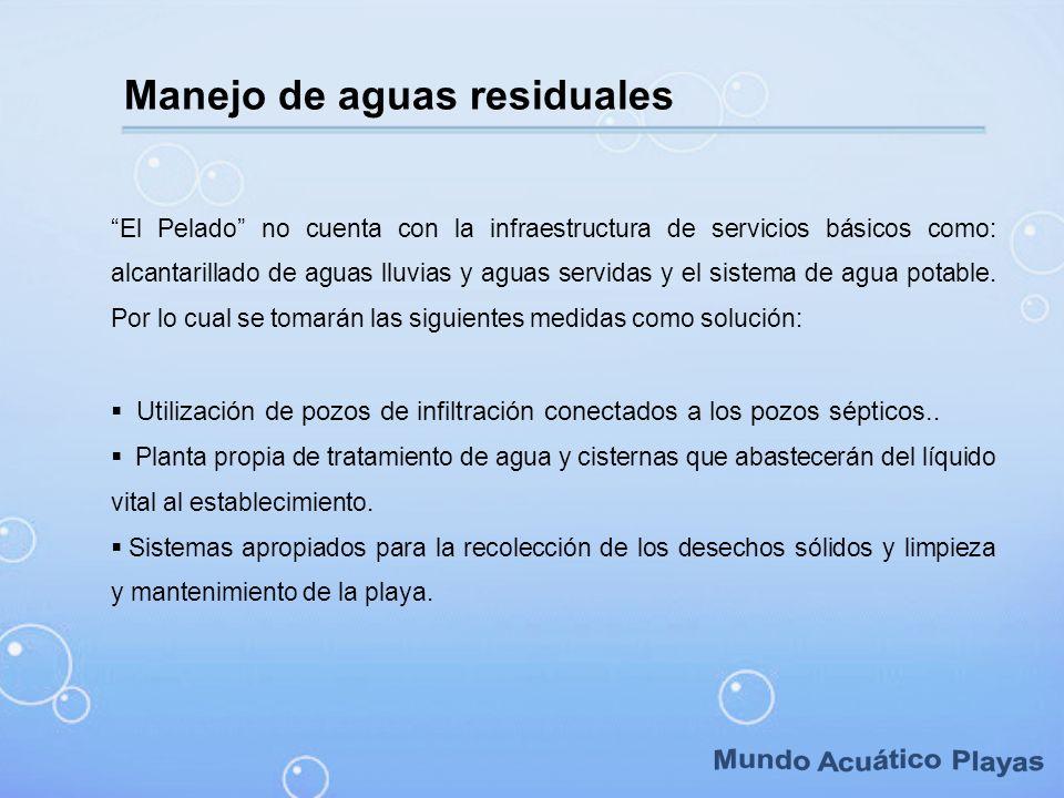 Manejo de aguas residuales El Pelado no cuenta con la infraestructura de servicios básicos como: alcantarillado de aguas lluvias y aguas servidas y el