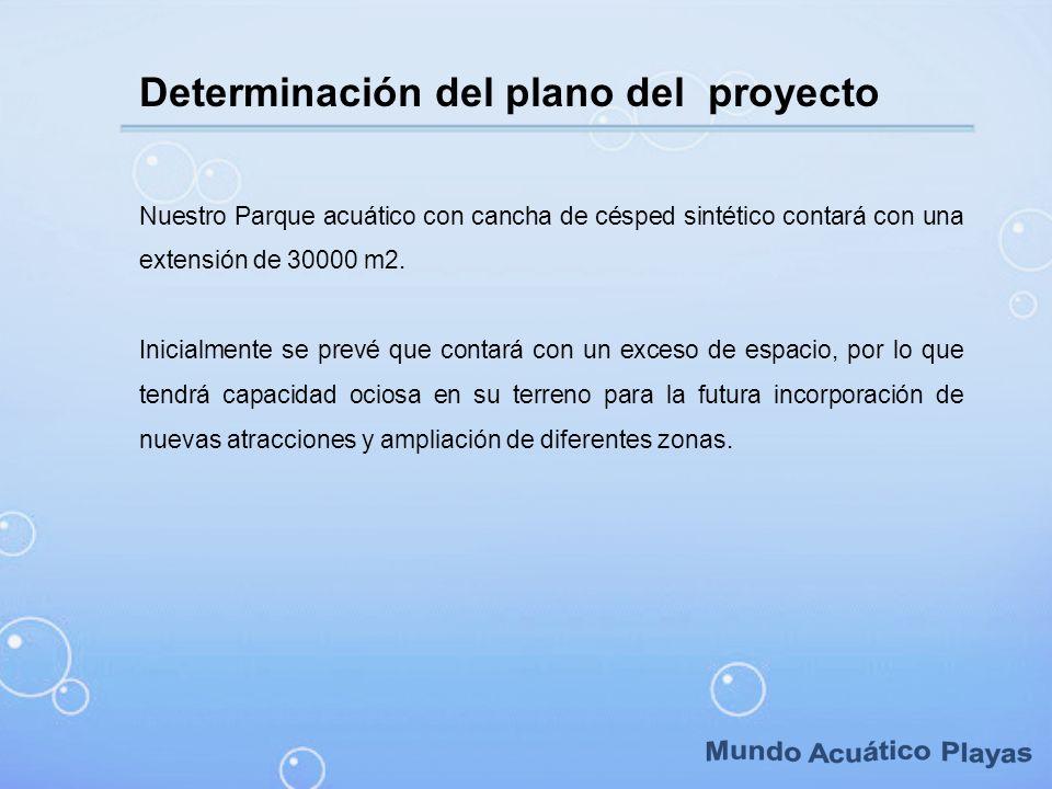 Determinación del plano del proyecto Nuestro Parque acuático con cancha de césped sintético contará con una extensión de 30000 m2. Inicialmente se pre