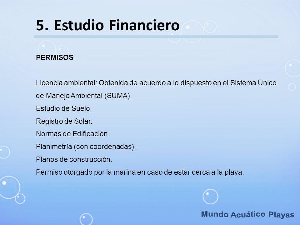 5. Estudio Financiero PERMISOS Licencia ambiental: Obtenida de acuerdo a lo dispuesto en el Sistema Único de Manejo Ambiental (SUMA). Estudio de Suelo
