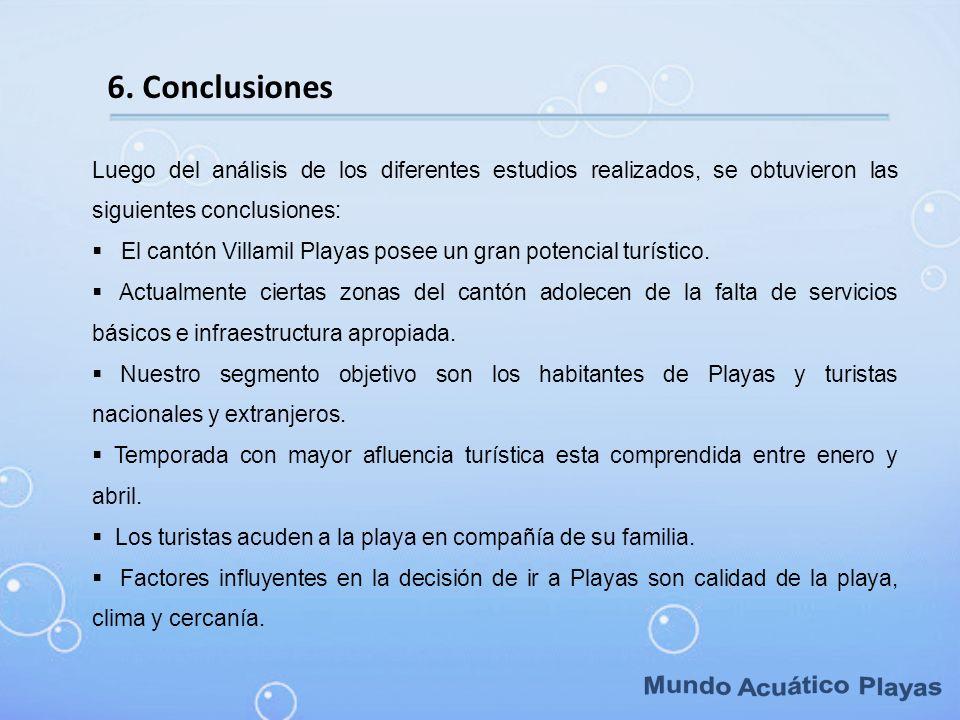 6. Conclusiones Luego del análisis de los diferentes estudios realizados, se obtuvieron las siguientes conclusiones: El cantón Villamil Playas posee u