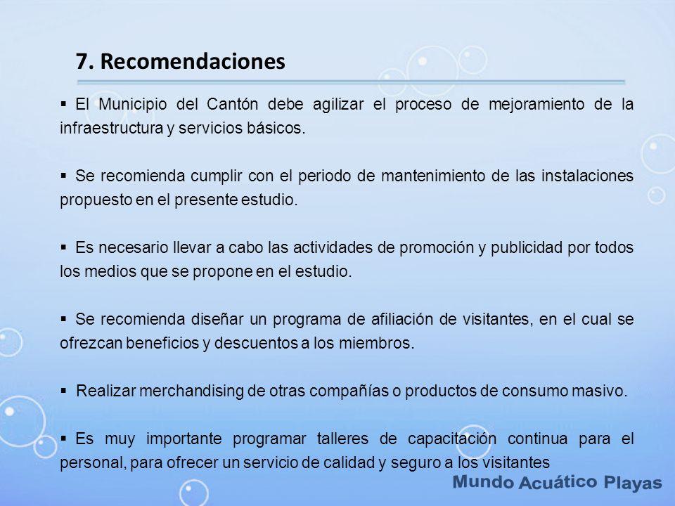 7. Recomendaciones El Municipio del Cantón debe agilizar el proceso de mejoramiento de la infraestructura y servicios básicos. Se recomienda cumplir c