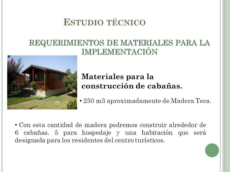 E STUDIO TÉCNICO REQUERIMIENTOS DE MATERIALES PARA LA IMPLEMENTACIÓN Materiales para la construcción de cabañas. 250 m3 aproximadamente de Madera Teca