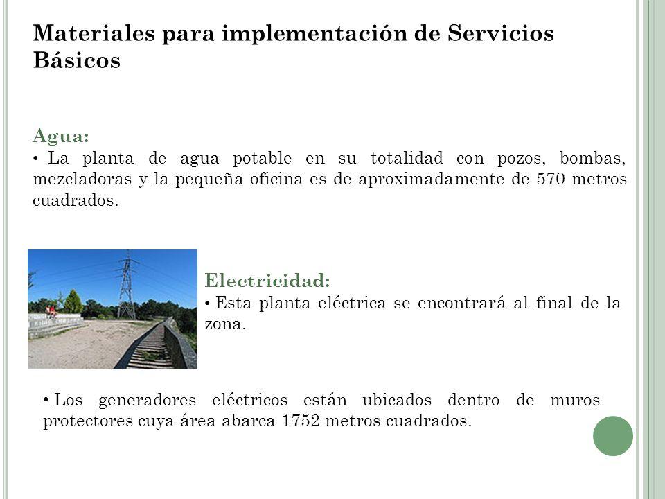 Materiales para implementación de Servicios Básicos Agua: La planta de agua potable en su totalidad con pozos, bombas, mezcladoras y la pequeña oficin