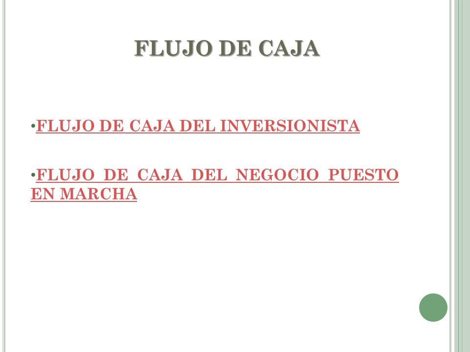FLUJO DE CAJA FLUJO DE CAJA DEL INVERSIONISTA FLUJO DE CAJA DEL INVERSIONISTA FLUJO DE CAJA DEL NEGOCIO PUESTO EN MARCHA FLUJO DE CAJA DEL NEGOCIO PUE