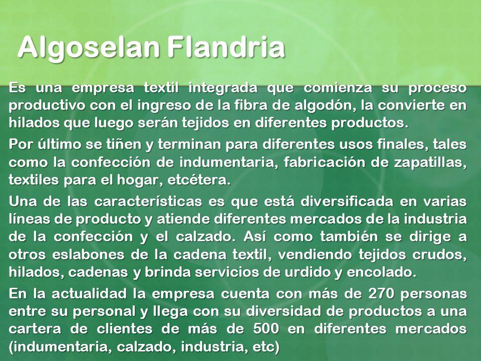 Algoselan Flandria Es una empresa textil integrada que comienza su proceso productivo con el ingreso de la fibra de algodón, la convierte en hilados q