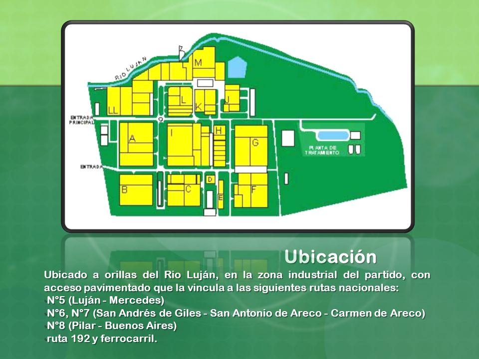 Ubicación Ubicado a orillas del Rio Luján, en la zona industrial del partido, con acceso pavimentado que la vincula a las siguientes rutas nacionales: