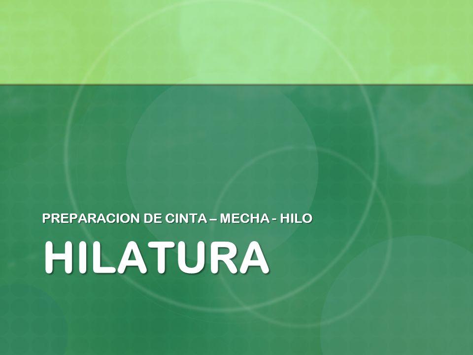 HILATURA PREPARACION DE CINTA – MECHA - HILO
