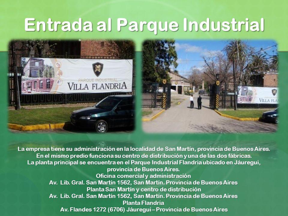Entrada al Parque Industrial La empresa tiene su administración en la localidad de San Martín, provincia de Buenos Aires. En el mismo predio funciona