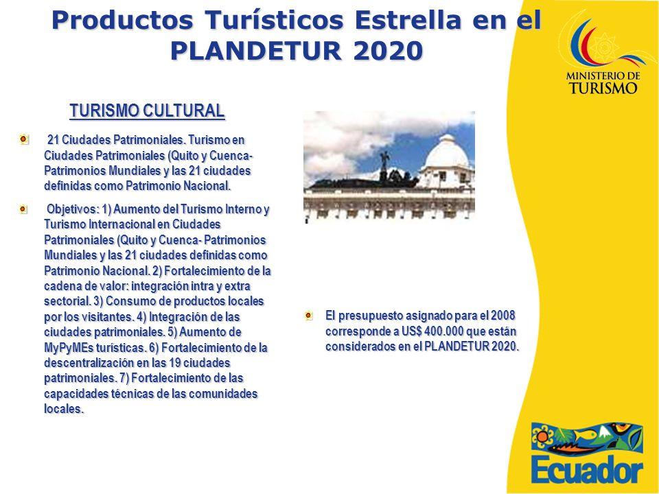 Productos Turísticos Estrella en el PLANDETUR 2020 TURISMO CULTURAL 21 Ciudades Patrimoniales.