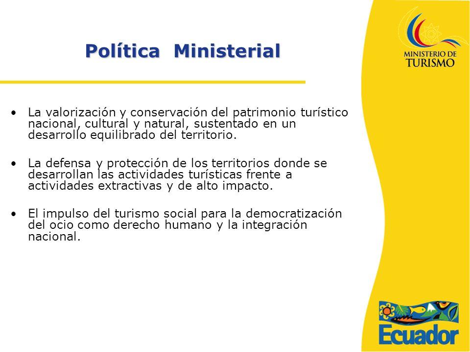 Política Ministerial La valorización y conservación del patrimonio turístico nacional, cultural y natural, sustentado en un desarrollo equilibrado del territorio.
