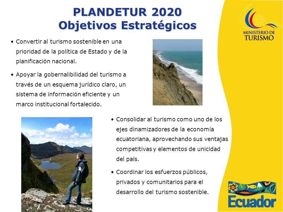 PLANDETUR 2020 Objetivos Estratégicos Consolidar al turismo como uno de los ejes dinamizadores de la economía ecuatoriana, aprovechando sus ventajas competitivas y elementos de unicidad del país.