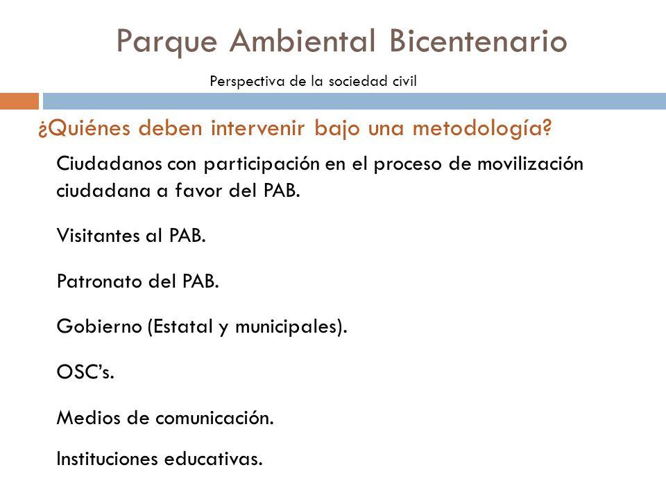 Ciudadanos con participación en el proceso de movilización ciudadana a favor del PAB. Visitantes al PAB. Patronato del PAB. Gobierno (Estatal y munici