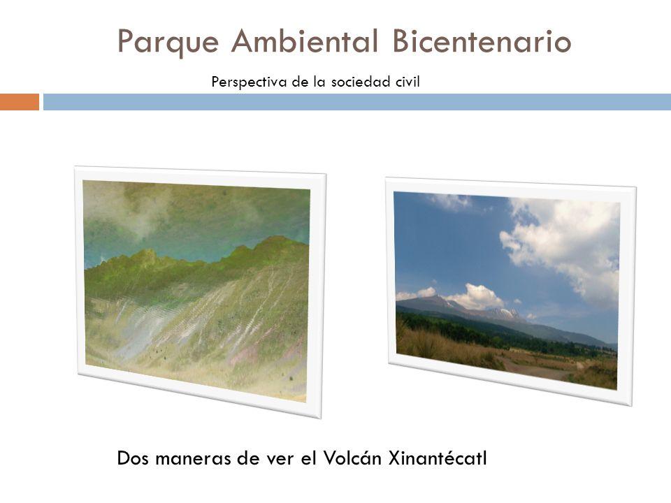 Parque Ambiental Bicentenario Perspectiva de la sociedad civil Dos maneras de ver el Volcán Xinantécatl