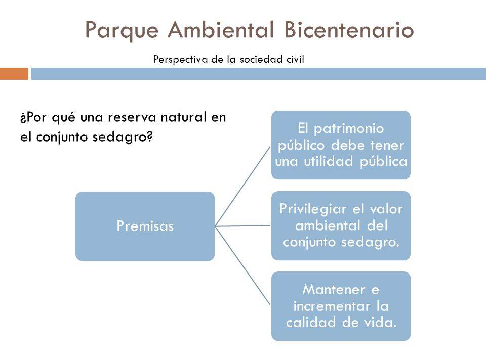 Parque Ambiental Bicentenario Perspectiva de la sociedad civil Premisas El patrimonio público debe tener una utilidad pública Privilegiar el valor amb
