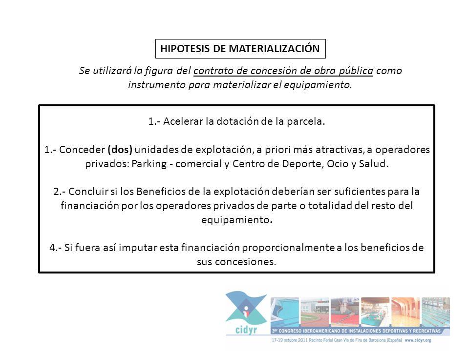 HIPOTESIS DE MATERIALIZACIÓN Se utilizará la figura del contrato de concesión de obra pública como instrumento para materializar el equipamiento. 1.-