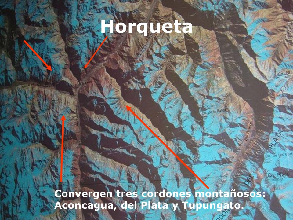 Horqueta Convergen tres cordones montañosos: Aconcagua, del Plata y Tupungato.