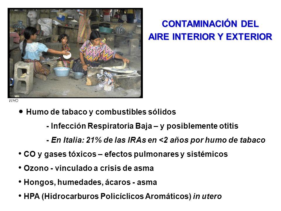 Humo de tabaco y combustibles sólidos - Infección Respiratoria Baja – y posiblemente otitis - En Italia: 21% de las IRAs en <2 años por humo de tabaco CO y gases tóxicos – efectos pulmonares y sistémicos Ozono - vinculado a crisis de asma Hongos, humedades, ácaros - asma HPA (Hidrocarburos Policíclicos Aromáticos) in utero CONTAMINACIÓN DEL AIRE INTERIOR Y EXTERIOR WHO