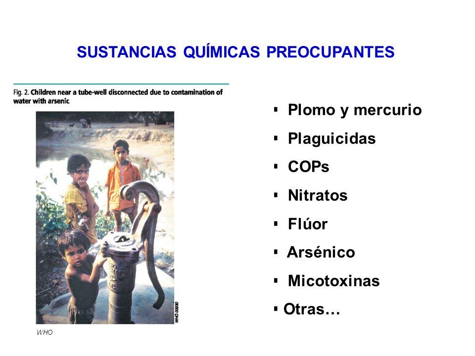 Plomo y mercurio Plaguicidas COPs Nitratos Flúor Arsénico Micotoxinas Otras… SUSTANCIAS QUÍMICAS PREOCUPANTES WHO