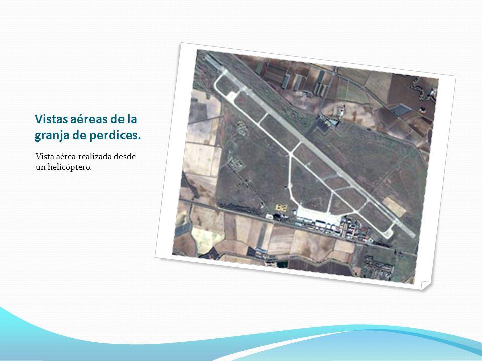 Vistas aéreas de la granja de perdices. Vista aérea realizada desde un helicóptero.