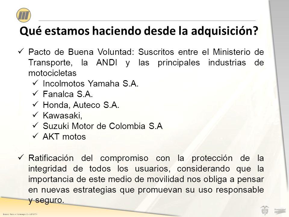 Elaboró: Pablo A. Montenegro G. – UCP SITM Qué estamos haciendo desde la adquisición.