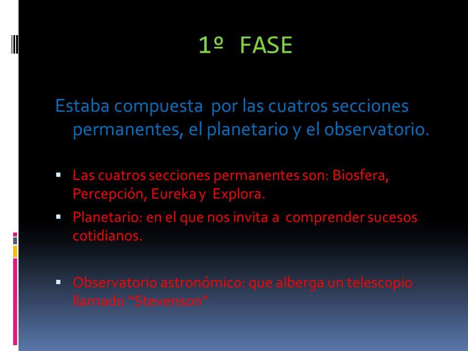 1º FASE Estaba compuesta por las cuatros secciones permanentes, el planetario y el observatorio.