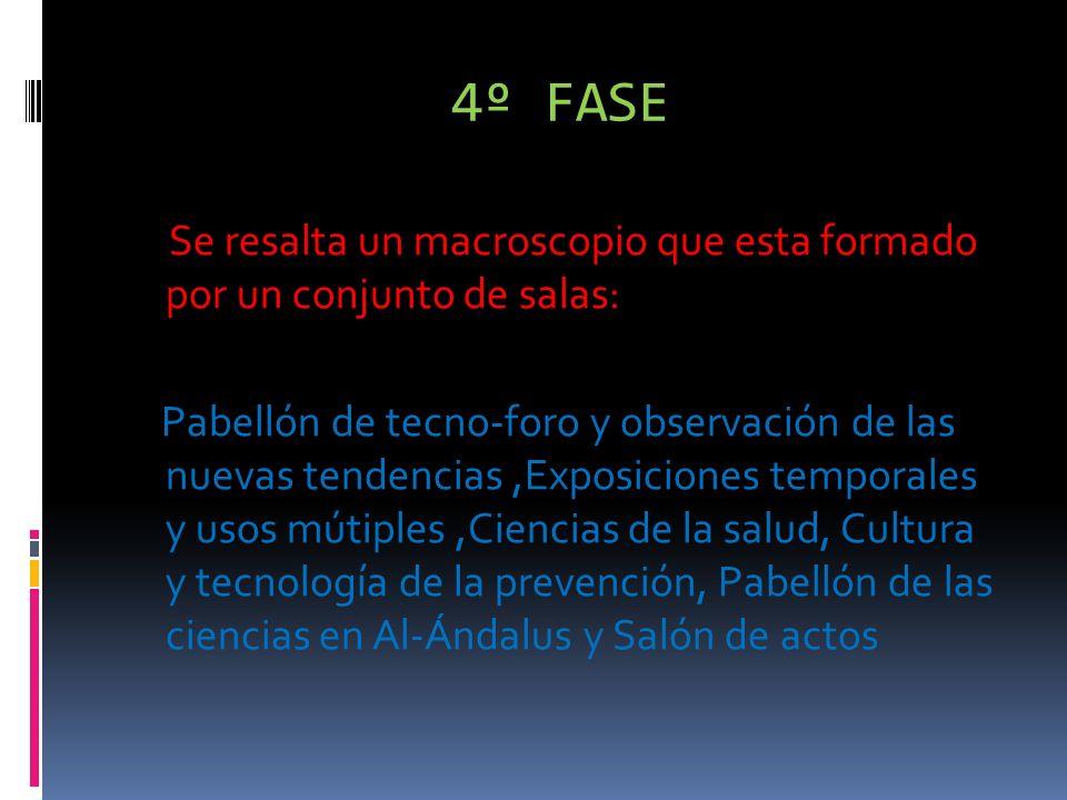 4º FASE Se resalta un macroscopio que esta formado por un conjunto de salas: Pabellón de tecno-foro y observación de las nuevas tendencias,Exposiciones temporales y usos mútiples,Ciencias de la salud, Cultura y tecnología de la prevención, Pabellón de las ciencias en Al-Ándalus y Salón de actos