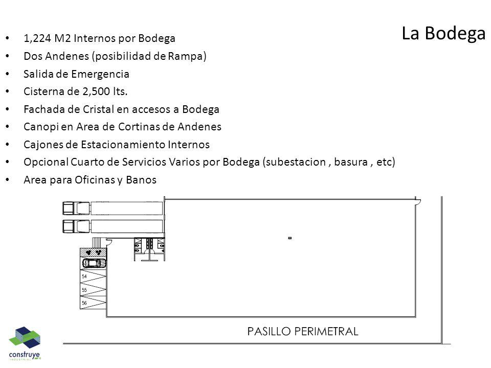 La Bodega 1,224 M2 Internos por Bodega Dos Andenes (posibilidad de Rampa) Salida de Emergencia Cisterna de 2,500 lts. Fachada de Cristal en accesos a