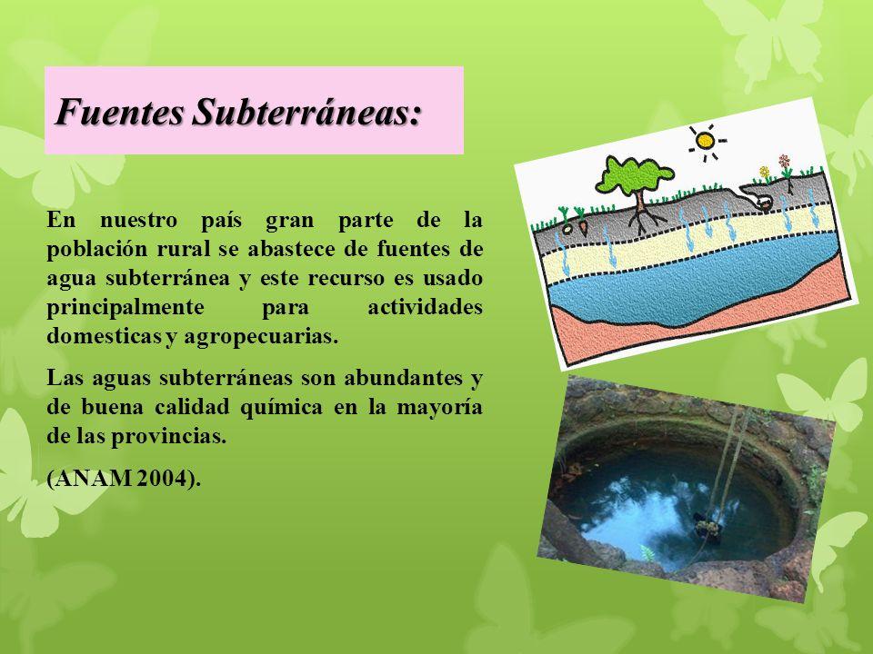 Fuentes Subterráneas: En nuestro país gran parte de la población rural se abastece de fuentes de agua subterránea y este recurso es usado principalmente para actividades domesticas y agropecuarias.