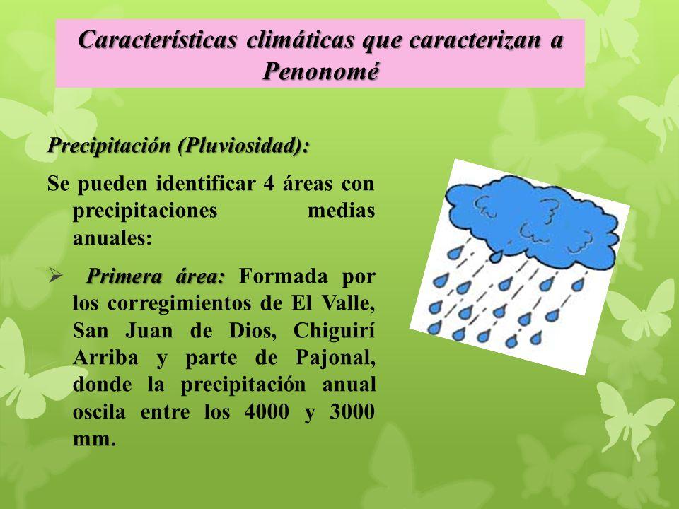 Precipitación (Pluviosidad): Se pueden identificar 4 áreas con precipitaciones medias anuales: Primera área: Primera área: Formada por los corregimientos de El Valle, San Juan de Dios, Chiguirí Arriba y parte de Pajonal, donde la precipitación anual oscila entre los 4000 y 3000 mm.