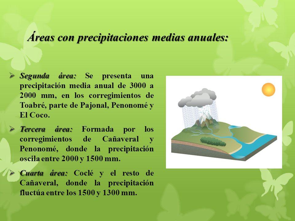 Áreas con precipitaciones medias anuales: Segunda área: Segunda área: Se presenta una precipitación media anual de 3000 a 2000 mm, en los corregimientos de Toabré, parte de Pajonal, Penonomé y El Coco.