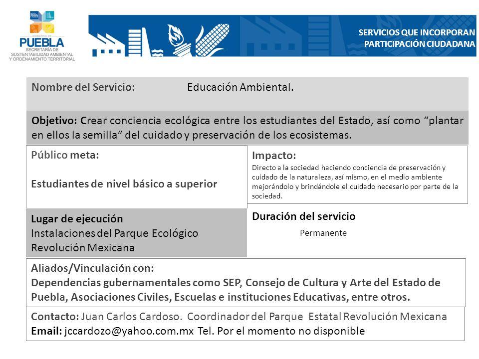 Nombre del Servicio: Educación Ambiental.