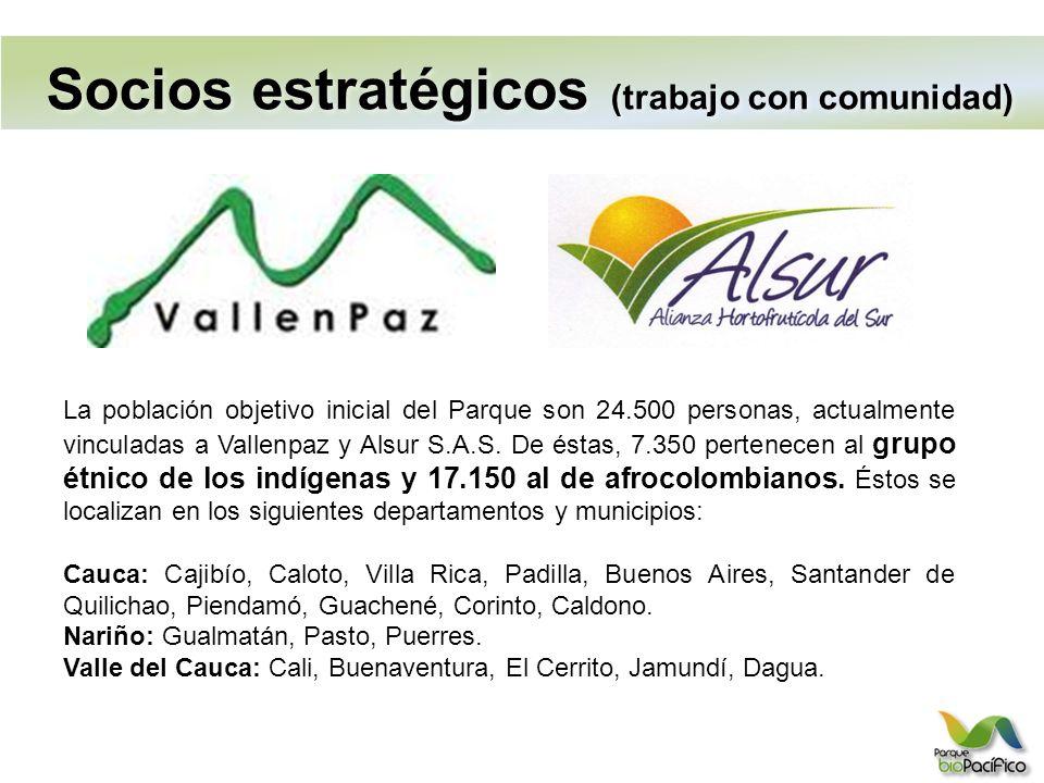 Socios estratégicos (trabajo con comunidad) La población objetivo inicial del Parque son 24.500 personas, actualmente vinculadas a Vallenpaz y Alsur S.A.S.