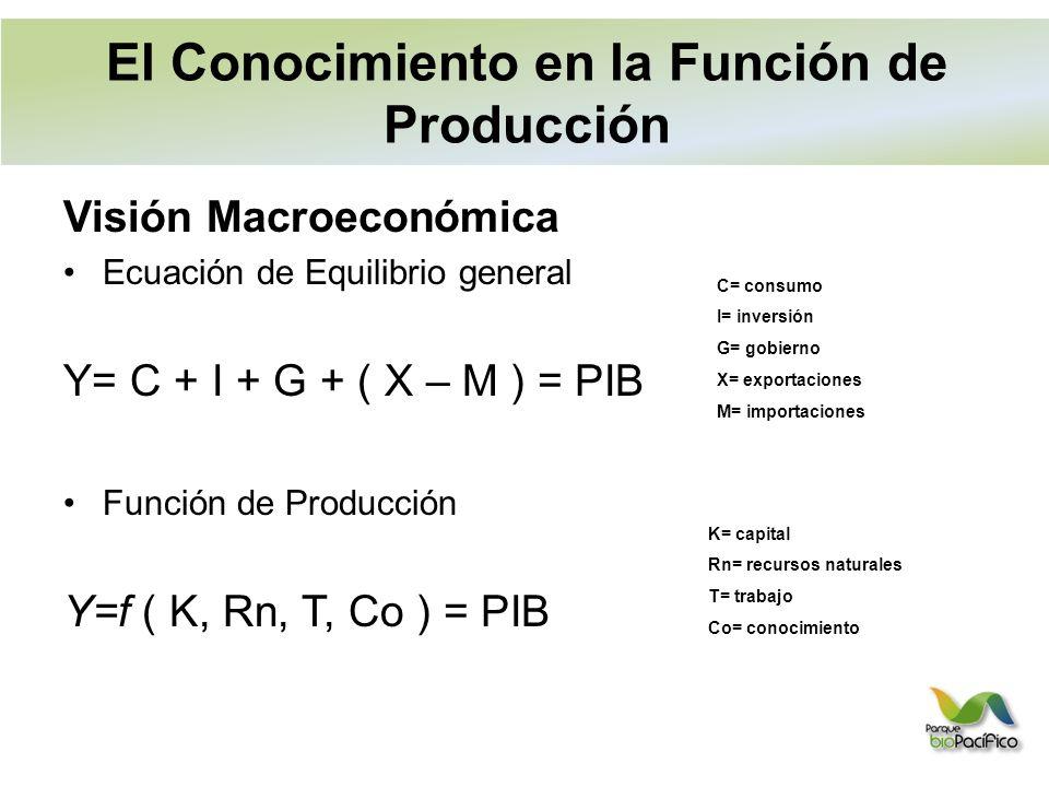 Visión Macroeconómica Ecuación de Equilibrio general Y= C + I + G + ( X – M ) = PIB Función de Producción Y=f ( K, Rn, T, Co ) = PIB C= consumo I= inversión G= gobierno X= exportaciones M= importaciones K= capital Rn= recursos naturales T= trabajo Co= conocimiento El Conocimiento en la Función de Producción