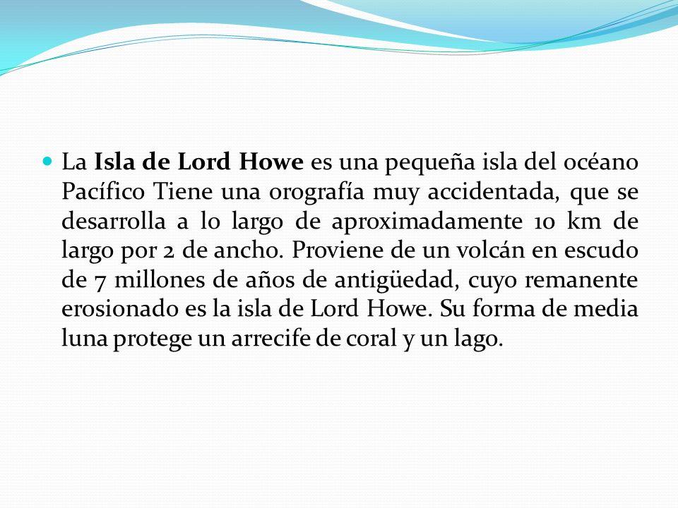 La Isla de Lord Howe es una pequeña isla del océano Pacífico Tiene una orografía muy accidentada, que se desarrolla a lo largo de aproximadamente 10 k