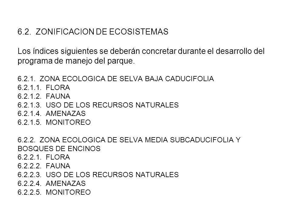 6.2. ZONIFICACION DE ECOSISTEMAS Los índices siguientes se deberán concretar durante el desarrollo del programa de manejo del parque. 6.2.1. ZONA ECOL