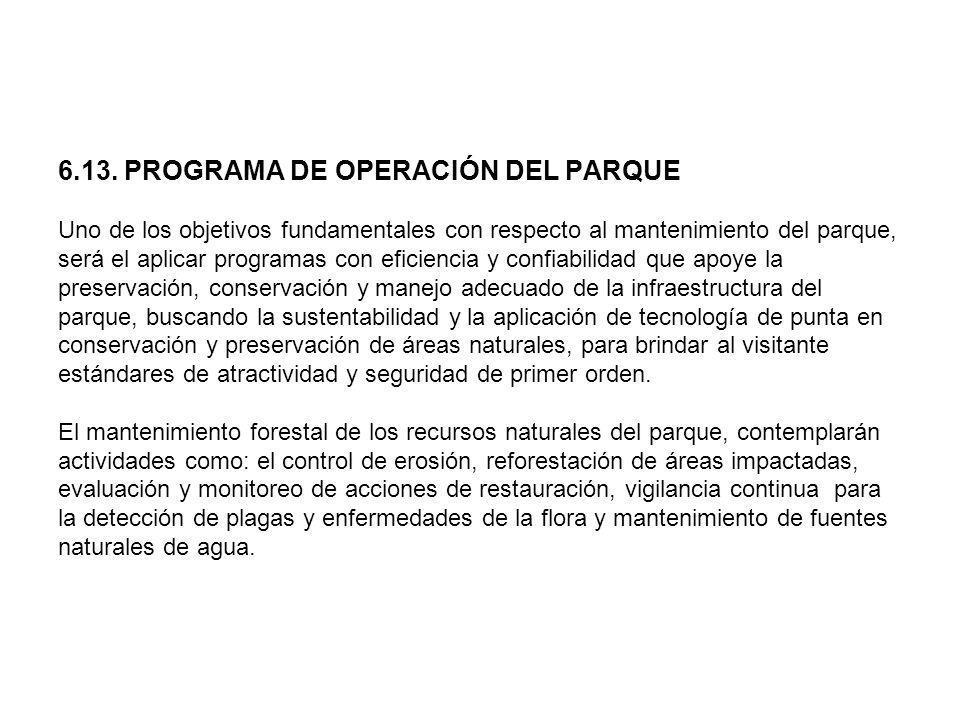 6.13. PROGRAMA DE OPERACIÓN DEL PARQUE Uno de los objetivos fundamentales con respecto al mantenimiento del parque, será el aplicar programas con efic