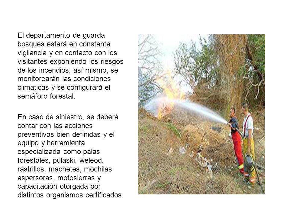El departamento de guarda bosques estará en constante vigilancia y en contacto con los visitantes exponiendo los riesgos de los incendios, así mismo,