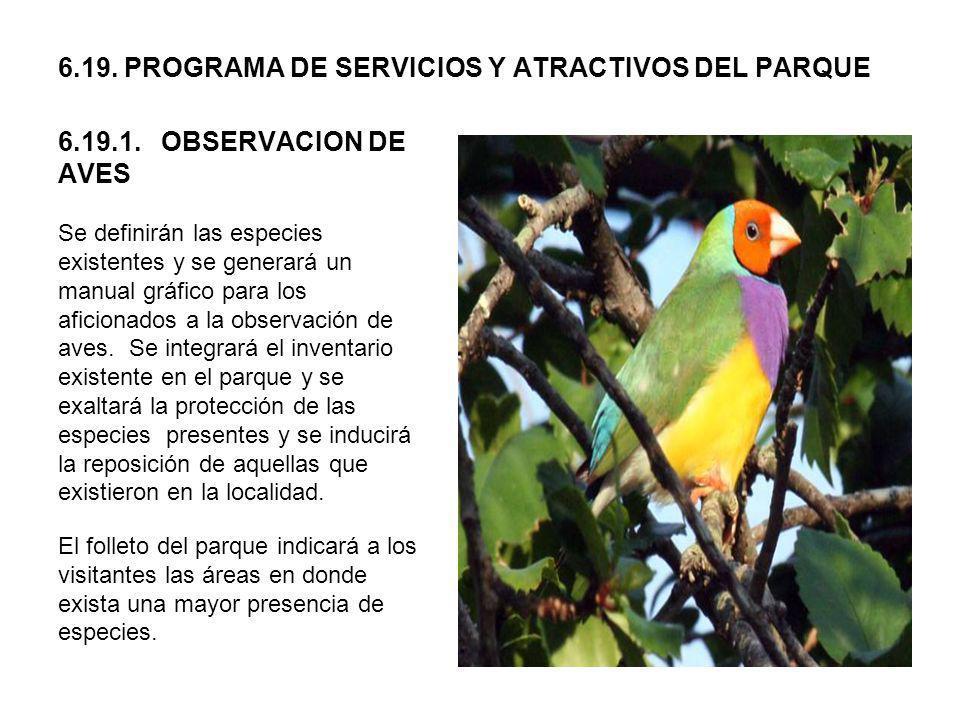 6.19. PROGRAMA DE SERVICIOS Y ATRACTIVOS DEL PARQUE 6.19.1. OBSERVACION DE AVES Se definirán las especies existentes y se generará un manual gráfico p