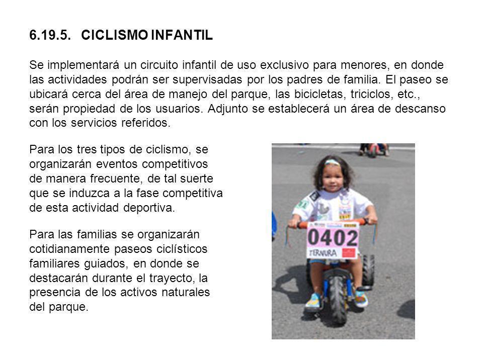 6.19.5. CICLISMO INFANTIL Se implementará un circuito infantil de uso exclusivo para menores, en donde las actividades podrán ser supervisadas por los