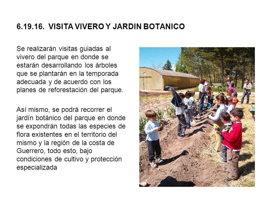 6.19.16. VISITA VIVERO Y JARDIN BOTANICO Se realizarán visitas guiadas al vivero del parque en donde se estarán desarrollando los árboles que se plant