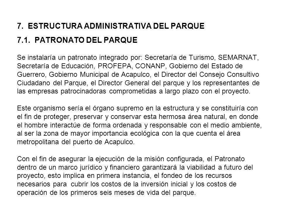 7. ESTRUCTURA ADMINISTRATIVA DEL PARQUE 7.1. PATRONATO DEL PARQUE Se instalaría un patronato integrado por: Secretaría de Turismo, SEMARNAT, Secretarí