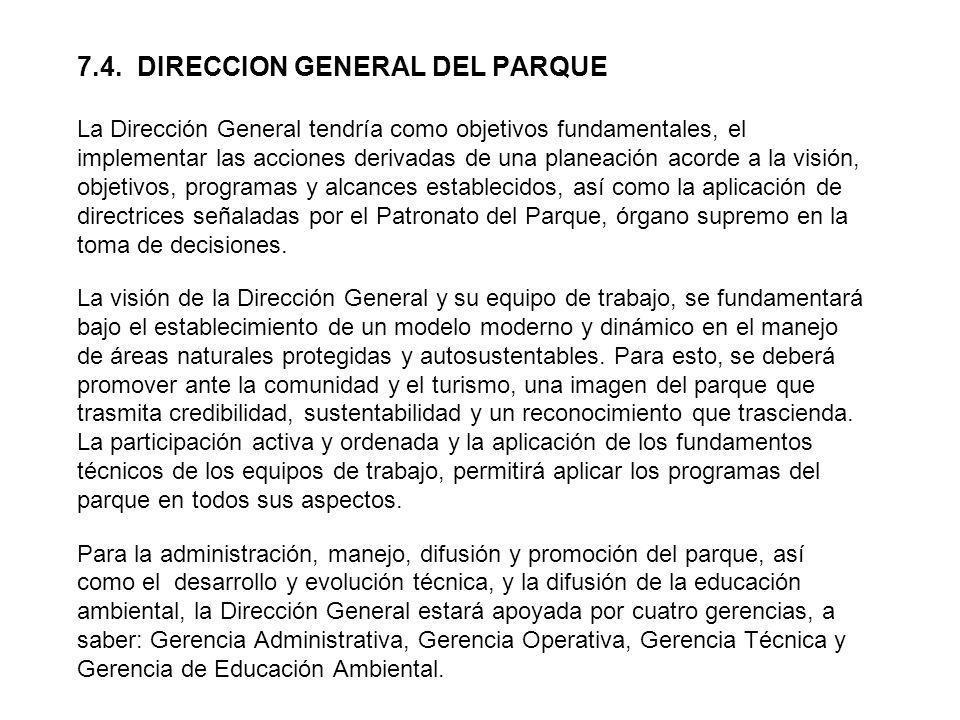 7.4. DIRECCION GENERAL DEL PARQUE La Dirección General tendría como objetivos fundamentales, el implementar las acciones derivadas de una planeación a