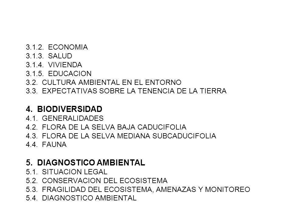 3.1.2. ECONOMIA 3.1.3. SALUD 3.1.4. VIVIENDA 3.1.5. EDUCACION 3.2. CULTURA AMBIENTAL EN EL ENTORNO 3.3. EXPECTATIVAS SOBRE LA TENENCIA DE LA TIERRA 4.