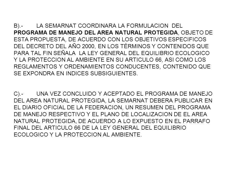 B).- LA SEMARNAT COORDINARA LA FORMULACION DEL PROGRAMA DE MANEJO DEL AREA NATURAL PROTEGIDA, OBJETO DE ESTA PROPUESTA, DE ACUERDO CON LOS OBJETIVOS E