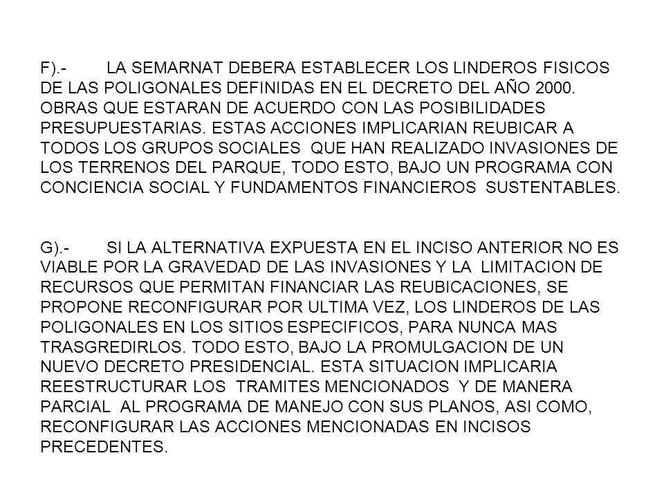 F).- LA SEMARNAT DEBERA ESTABLECER LOS LINDEROS FISICOS DE LAS POLIGONALES DEFINIDAS EN EL DECRETO DEL AÑO 2000. OBRAS QUE ESTARAN DE ACUERDO CON LAS