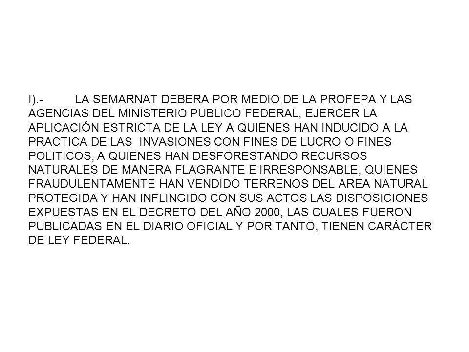 I).- LA SEMARNAT DEBERA POR MEDIO DE LA PROFEPA Y LAS AGENCIAS DEL MINISTERIO PUBLICO FEDERAL, EJERCER LA APLICACIÓN ESTRICTA DE LA LEY A QUIENES HAN