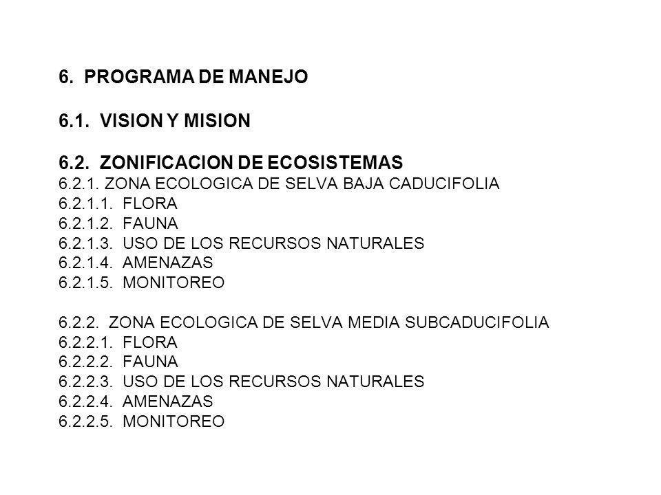 6. PROGRAMA DE MANEJO 6.1. VISION Y MISION 6.2. ZONIFICACION DE ECOSISTEMAS 6.2.1. ZONA ECOLOGICA DE SELVA BAJA CADUCIFOLIA 6.2.1.1. FLORA 6.2.1.2. FA